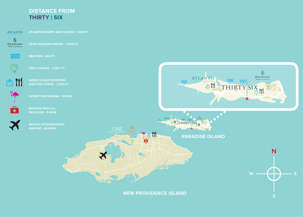 Thirty Six Paradise Island Location Map